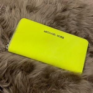 Michael Kors Neon Yellow/Green Full Zip Wallet